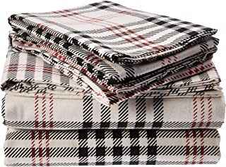 Tribeca Living PL200HSEDSSQU 200 GSM Plaid Printed Deep Pocket Flannel Sheet Set, Queen
