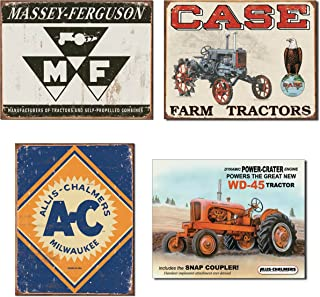 Farm Tractor Tin Sign Bundle - Massey Ferguson Logo, Case Tractor CC High, Allis Chalmers Logo Allis Chalmers WD45