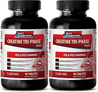 muscle builder supplements for men - CREATINE TRI-PHASE 5000 - PRE & POST WORKOUT - creatine mono - 2 Bottles (180 Tablets)