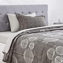 AmazonBasics 5-Piece Light-Weight Microfiber Bed-In-A-Bag Comforter Bedding Set - Twin, Industrial Grey