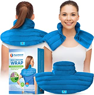Neck and Shoulder Wrap - Instant Relief for Tension and Stress, Migraines, Headaches, Aches, Spasms, Arthritis, Stiffness, and Tightness - Deep, Penetrating Muscle Relaxation with Herbal Aromatherapy