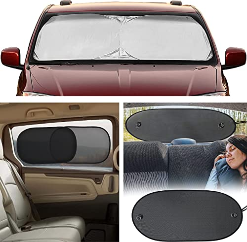 """new arrival EcoNour online sale Gift Bundle   Windshield Sun Shade (X-Large 75""""x37"""") + lowest Car Side Window Sun Shade 20""""x12"""" (4 Pack) + Sun Shade for Back Car Window (Large 39""""x17"""")   Complete Infant Protection from Sun online sale"""