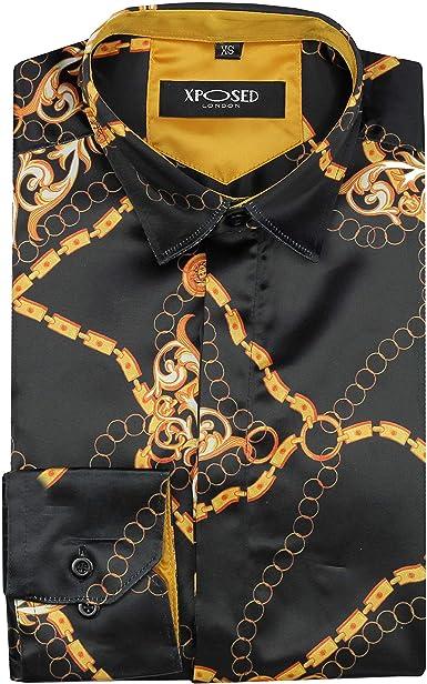 Camisa de satén con estampado de cadena de oro para hombre, estilo italiano