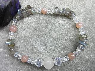 Genuine Selenite, Labradorite and Peach Moonstone Healing Bracelet Promotes Weight Loss Stamina