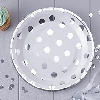 Ginger Ray Silver Foiled Polka Dot Paper Party Plates X 8 - Pick And Mix