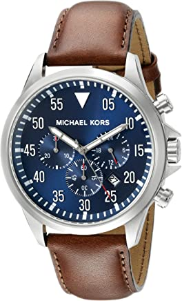 Michael Kors Stainless Steel Gage Watch with Navy Dial