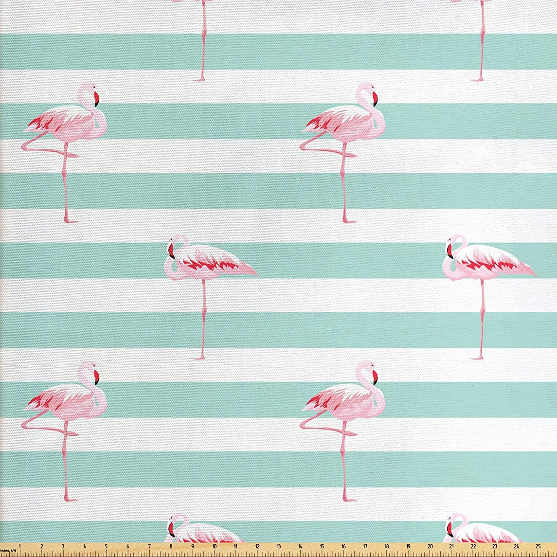 Lunarable Modern Fabric by The Yard, Pink Flamingo Birds on Horizontal Striped Bands Background Love Tropical Graphic, Decorative Fabric for Upholstery and Home Accents, 2 Yards, Seafoam White