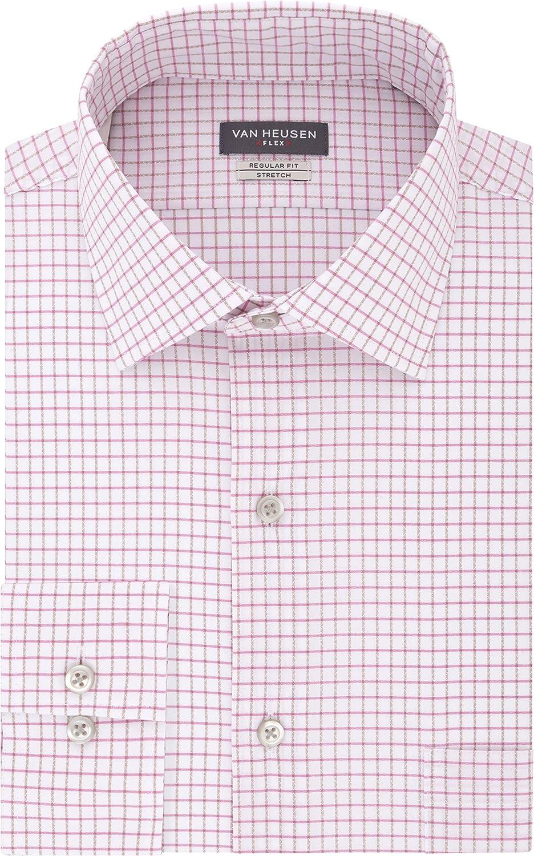Van Heusen Men's Flex Regular Fit 5 popular Check Spread Shir Cheap super special price Dress Collar