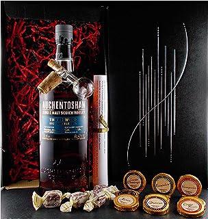 Geschenk Auchentoshan Three Wood Single Malt Whisky  Glaskugelportionierer  Edelschokolade  Whiskey Fudge