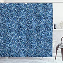 Ambesonne Asian Shower Curtain, Zentangle Style Circles Swirling Lines Ornate Exotic Tribal, Cloth Fabric Bathroom Decor Set with Hooks, 75 Long, Dark Blue