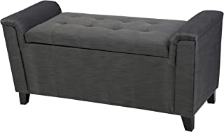 Christopher Knight Home Living Arthur Grey Tufted Fabric Armed Storage Ottoman Bench
