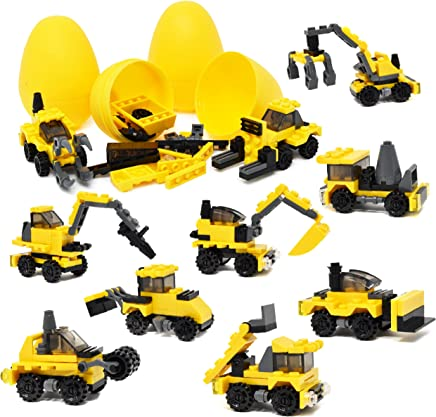 """Gift Boutique 12 Filled Easter Eggs with Surprise Building Block Toys Inside Prefilled Egg for Kids to Build Different Kinds of Construction Vehicles Plastic 3"""" Easter Basket Stuffers"""