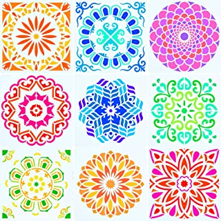 12 x 12 Inch Large Size Reusable Stencil Laser Cut Painting Template Floor Wall Tile Fabric Furniture Stencils Painting Stencils Set of 9 (Blossoming Flower Stencils)