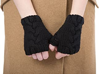 likemary Fairtrade Cable Hand Knitted Merino Wool Wristie Driving Gloves Black