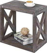 MyGift Rustic Wood Rectangular End Table with Vintage Grey Finish