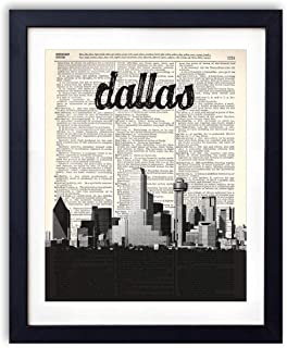Dallas Skyline With Name Vertical Dictionary Art Print 8x10