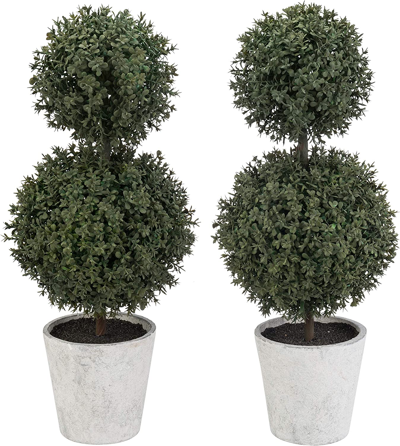 MyGift Artificial Boxwood Topiary Max 54% OFF Trees Pots Gray Pulp Paper Cheap in