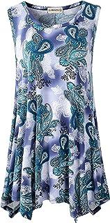 LARACE Women Plus Size Floral Shirts Flowy Tank Tops Summer Sleeveless Tunic(A-Green03 L)