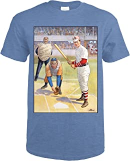 Batter Up Vintage Poster USA c. 1905 59746 (Heather Royal T-Shirt XX-Large)