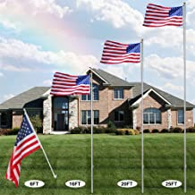 F2C 20FT Sectional Flagpole Kit Outdoor Halyard Pole with US American 3'x5' Flag, In-Ground Pole and Hardware