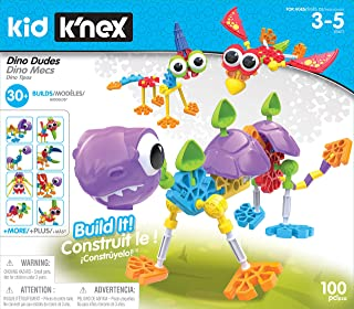Kid K'NEX Dino Dudes Building Set, Kids Craft Set with 100 Pieces, Educational Toys for Kids, Fun and Colourful Building T...