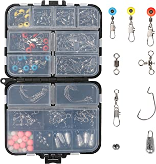 RUNCL Fishing Terminal Tackle, 148/170pcs Fishing Tackle Box - Fishing Hooks, Weights, Jig Heads, O-Rings, Barrel Swivels, Fastlock Snaps, Fishing Beads, Space Beans - Freshwater & Saltwater Fishing