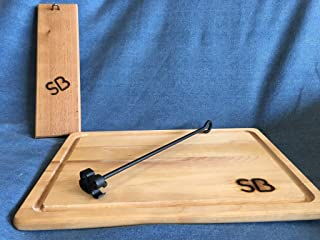 Personalized Miniature Branding Iron with Cedar Display Board and Branded Carving Board by Sloan Brands