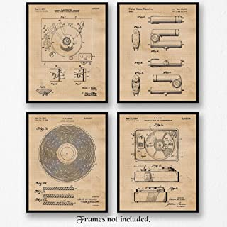 Original Vinyl Record Player Patent Poster Prints, Set of 4 (8x10) Unframed Photos, Wall Art Decor Gifts Under 20 for Home, Office, Studio, Garage, Man Cave, College Student, Teacher, DJ, Music Fan