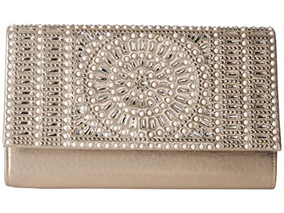 Jessica McClintock Nora Sparkle Shine Clutch (Light Gold) Handbags