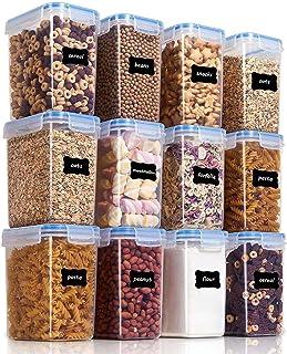 Vtopmart Lot de 12 boîtes de Conservation de Nourriture en Plastique avec Couvercle hermétique sans BPA 1,6L (Bleu)
