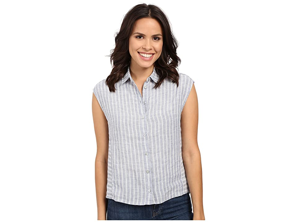Mavi Jeans Linen Stripe Button Up Top (Blue Stripe) Women
