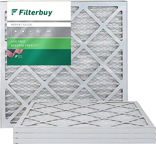FilterBuy 20x20x1 Air Filter MERV 8, Pleated HVAC AC Furnace Filters (4-Pack, Silver)
