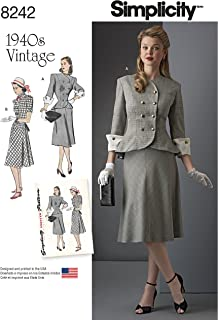 Simplicity 8242 Women's 1940's Vintage Fashion Dress Sewing Pattern, Sizes 10-18