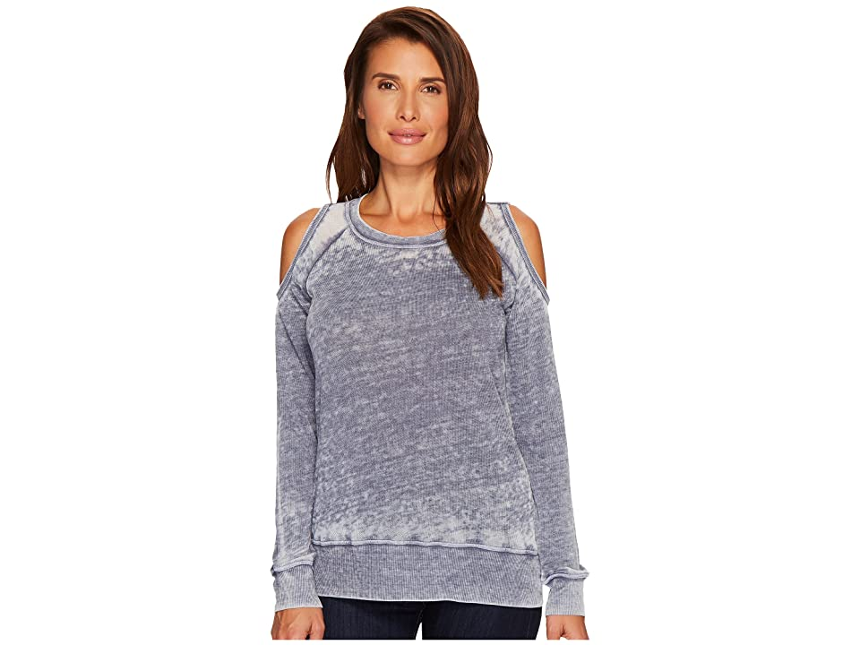 Allen Allen Sweater Cold Shoulder Top (Gunmetal) Women