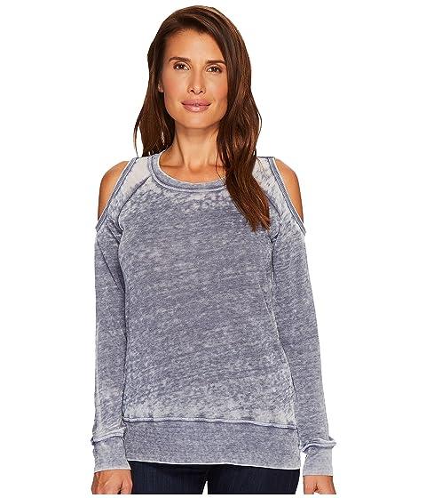 ALLEN ALLEN Sweater Cold Shoulder Top, Gunmetal