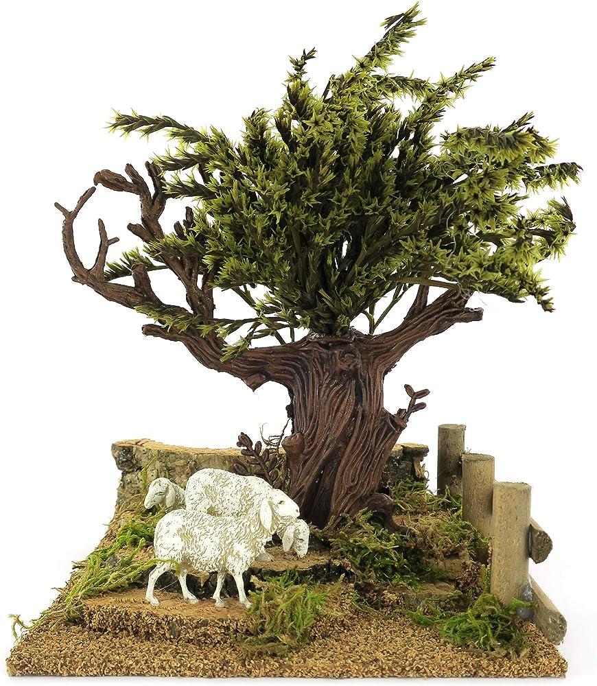 Ferrari & arrighetti albero sulla collina con pecore,paesaggio per presepe Bertoni_784S