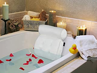 Regal Bazaar Spa Bath Pillow - White Quick-Drying Mesh Fabric with Large Suction Cups, Hanging Hook and Carry Bag - Helps Support Head, Back, Shoulder and Neck