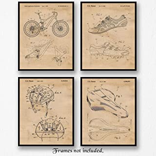 Original Specialized Mountain Bike Patent Art Poster Prints, Set of 4 (8x10) Unframed Photos, Great Wall Art Decor Gifts Under 20 for Home, Office, Garage, Shop, Man Cave, Student, Teacher, Cyclist