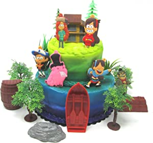 Gravity Falls Deluxe Birthday Cake Topper Set Featuring Gravity Fall Characters and Themed Accessories