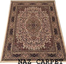 NAZ CARPET Industries Kashmiri Traditional Persian Design Carpet with 0.5 Inch Pile Height for Your Living Room 180x275cm 6 Feet by 9 Feet Ivory/Multi