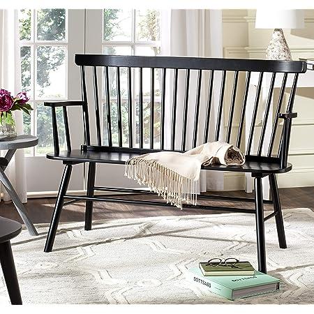 Amazon Com Safavieh American Homes Collection Addison Spindle Back Black Bench Furniture Decor