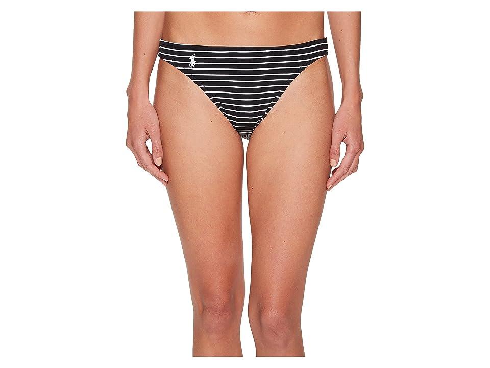 Polo Ralph Lauren Resort Stripes Taylor Hipster Bikini Bottom (Black) Women