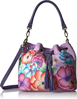 Anna by Anuschka Hand Painted Leather Drawstring Satchel