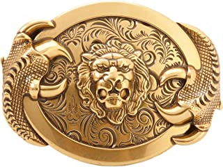 Western Style Cowboy Brass Lion Belt Buckle for men