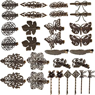inSowni 30 Pack/15 Pairs Bronze Metal Retro Vintage Alligator Hair Clips Barrettes Bobby Pins Leaf Flower Butterfly Access...
