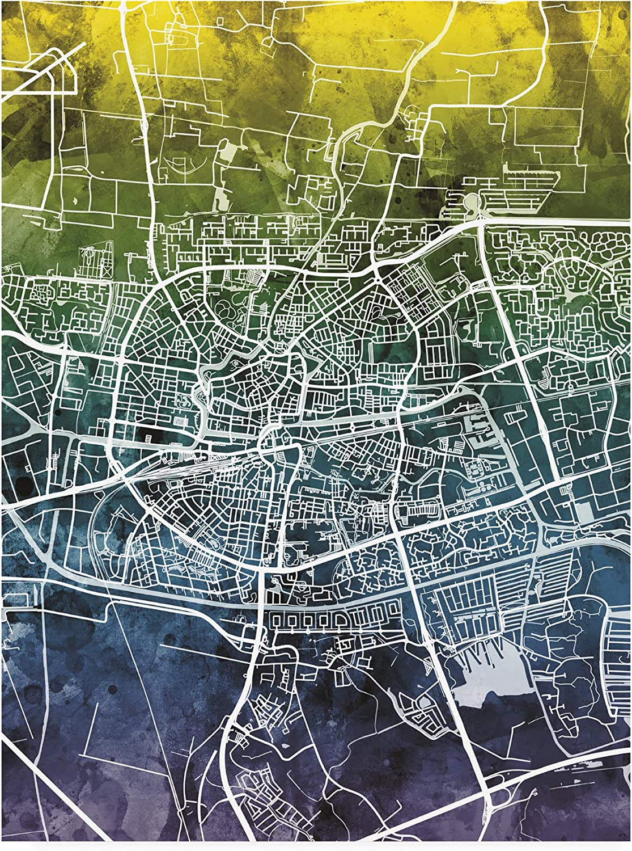 Trademark Fine Art Leeuwarden Free Shipping New Netherlands b City Map Blue Sale price Yellow