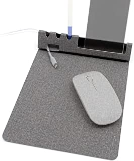 SenseAGE Ultra-Smooth Low Friction Non-Slip Base Multi-Functional Mouse Pad, Phone & Pen Holder, Cord Manager- Gray