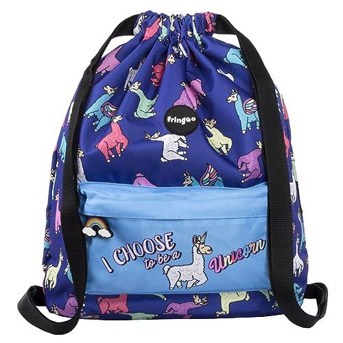 5f64358327 FRINGOO® Kids Drawstring Bag Large School Backpack PE Kit Bag Zipped Front  Pocket (Lamacorn