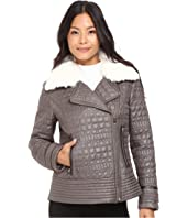 Asymmetrical Croc Like Quilted Bomber with Removable Luxe Faux Fur Collar