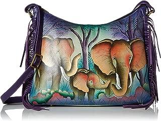 Women's Genuine Leather Large Hobo Shoulder Bag   Hand Painted Original Artwork